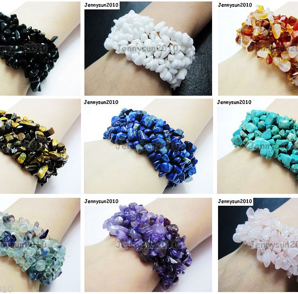 30mm-Wide-Natural-Gemstone-Chip-Nugget-Beaded-Fashion-Stretchy-Bracelet-Healing-251093768229