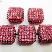 5Pcs-Crystal-Glass-Rhinestones-Pave-Flat-Square-Bracelet-Connector-Charm-Beads-261299309673-9b72