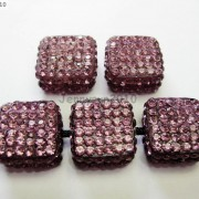 5Pcs-Crystal-Glass-Rhinestones-Pave-Flat-Square-Bracelet-Connector-Charm-Beads-261299309673-c00b