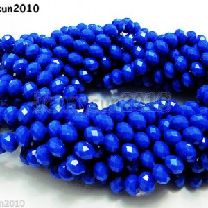 72pcs-Opaque-Blue-Faceted-Crystal-Rondelle-Loose-Spacer-Beads-6mm-x-8mm-261076669917
