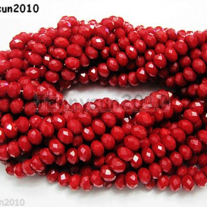 72pcs-Opaque-Red-Faceted-Crystal-Rondelle-Loose-Spacer-Beads-6mm-x-8mm-261208637188