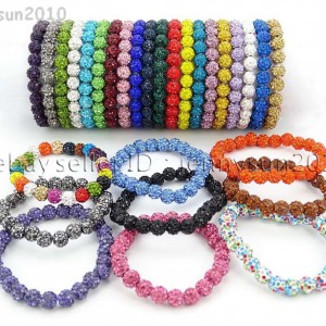 8mm-Czech-Crystal-Rhinestones-Pave-Clay-Round-Disco-Beads-Stretchy-Bracelet-281880718287