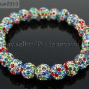 8mm-Czech-Crystal-Rhinestones-Pave-Clay-Round-Disco-Beads-Stretchy-Bracelet-281880718287-de53