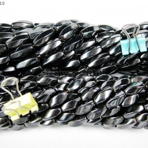 AAA-Healing-Natural-MAGNETIC-Hematite-Gemstone-Twisted-Drum-Beads-16-6mm-8mm-281232653109