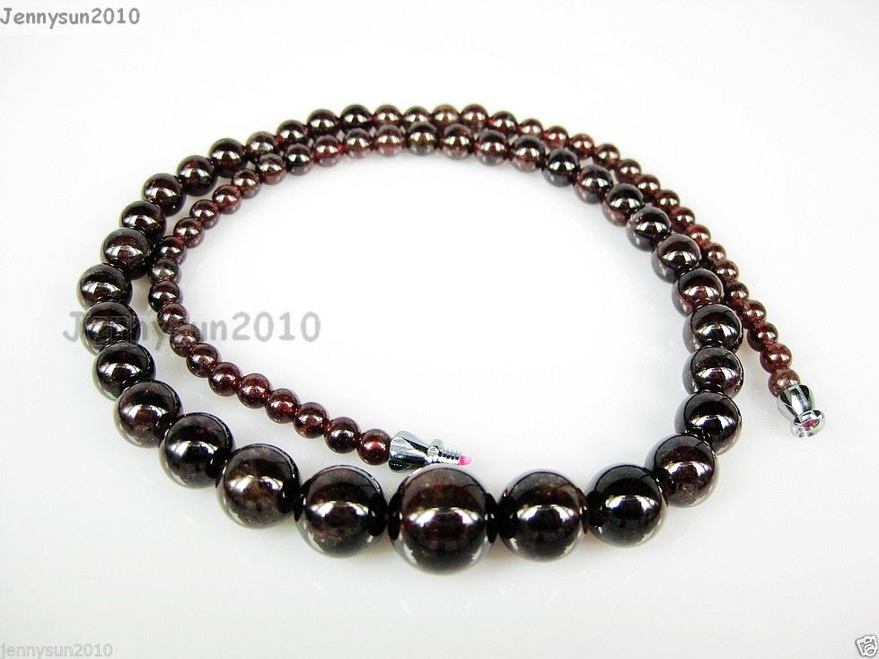 AAA Natural Garnet Gemstone 4~12mm Graduated Round Beads Necklace 17/'/' Inches