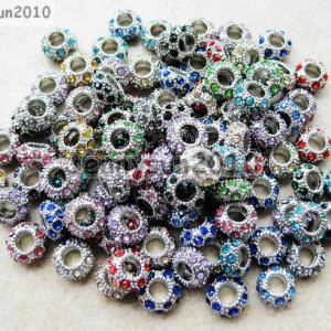 Big-Hole-Crystal-Rhinestone-Pave-Pewter-Rondelle-Spacer-Beads-Fit-European-Charm-370822101554