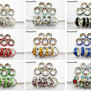 Big-Hole-Crystal-Rhinestone-Silver-Rondelle-Spacer-Beads-10mm-Fit-European-Charm-261050962238