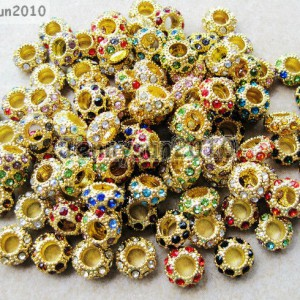 Big-Hole-Crystal-Rhinestones-Pave-Gold-Rondelle-Spacer-Beads-Fit-European-Charm-370822091513