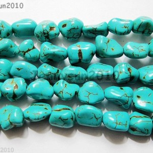 Blue-Howlite-Turquoise-Gemstone-12mm-Freeformed-Nugget-Loose-Beads-16-Strand-261258579502