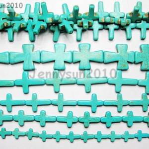 Blue-Howlite-Turquoise-Gemstone-Cross-Loose-Beads-16-Strand-Pick-Sizes-261239034016