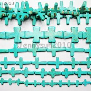 Blue-Howlite-Turquoise-Gemstone-Cross-Loose-Beads-16-Strand-Pick-Sizes-261239034016