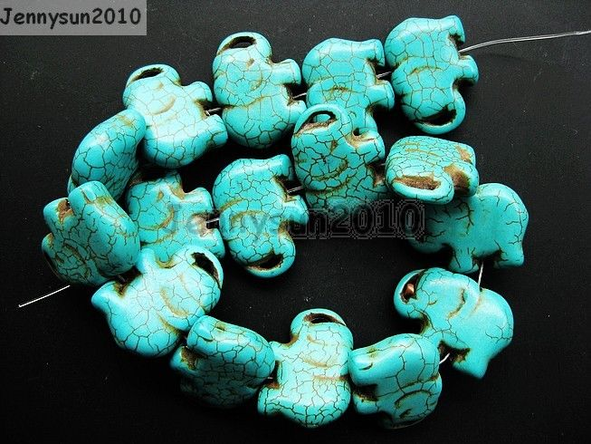 412c63086 Blue Howlite Turquoise Gemstone Side Ways Flat Elephant Loose Beads ...