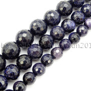 Blue-Sand-Stone-Gemstone-Faceted-Round-Spacer-Loose-Beads-15-8mm-10mm-12mm-371774314046