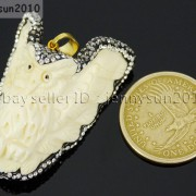 Bone-Carved-Czech-Crystal-Rhinestones-Pendant-Charm-Beads-Owl-Wolf-Horse-Tribal-371498738640-6