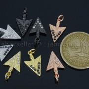 Clear-Black-Zircon-Gemstones-Pave-Triangle-Arrowhead-Pendant-Charm-Beads-262897503867-3