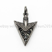Clear-amp-Black-Zircon-Gemstones-Pave-Triangle-Arrowhead-Pendant-Charm-Beads-262897503867-47ac