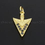Clear-amp-Black-Zircon-Gemstones-Pave-Triangle-Arrowhead-Pendant-Charm-Beads-262897503867-9d87