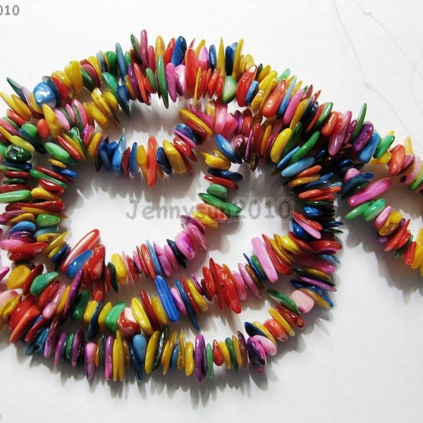 Colorful-MOP-Mother-of-Pearl-Shell-5-8mm-Chip-Bead-35-Bracelet-Necklace-Making-261266272423