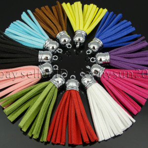 Colorful-Soft-Velvet-Korea-Frosting-Cord-Tassel-Trim-Silver-Plated-Pendant-55mm-371743836108