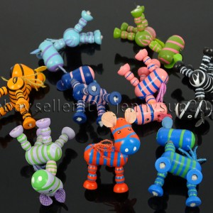 Colorful-Zebra-Wood-Pendant-Charm-Beads-Toy-28mm-x-30mm-Lead-Free-Environmental-282035904299