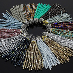 Czech-Crystal-3mm-Rondelle-Beads-Tassel-Trim-Applique-Jewelry-Design-Pendant-8CM-282053335784