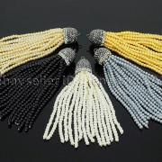 Czech-Glass-Pearl-Round-Beads-Tassel-Trim-Applique-Jewelry-Design-Pendant-10cm-262456459225