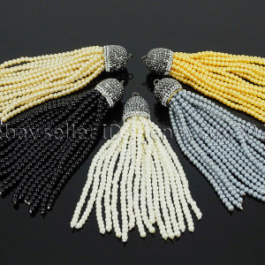 Czech-Glass-Pearl-Round-Beads-Tassel-Trim-Applique-Jewelry-Design-Pendant-10cm-262456459225
