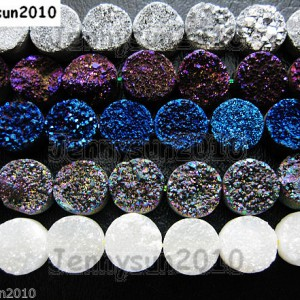 Druzy-Quartz-Agate-Side-Drilled-Flat-Back-Connector-Cabochon-Round-Beads-10mm-261157506509