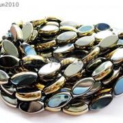 Elegant-AAA-Hematite-Gemstone-Metallic-Gold-Sided-Oval-Loose-Beads-14-Strand-261243839623-3