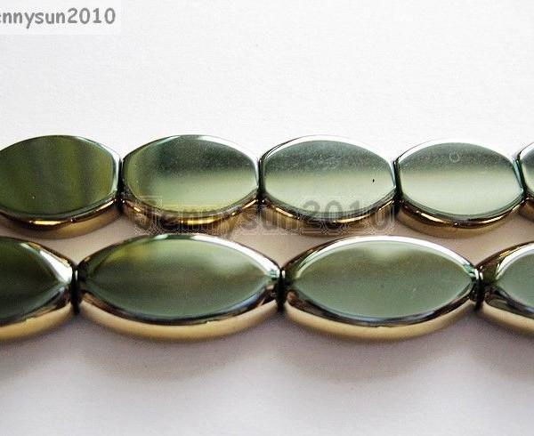 Elegant-AAA-Hematite-Gemstone-Metallic-Gold-Sided-Oval-Loose-Beads-14-Strand-261243839623