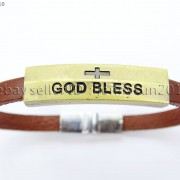 GOD-BLESS-Cross-Antique-Bronze-Leather-Wristband-Magnetic-Cuff-Bangle-Bracelet-262024487664-2