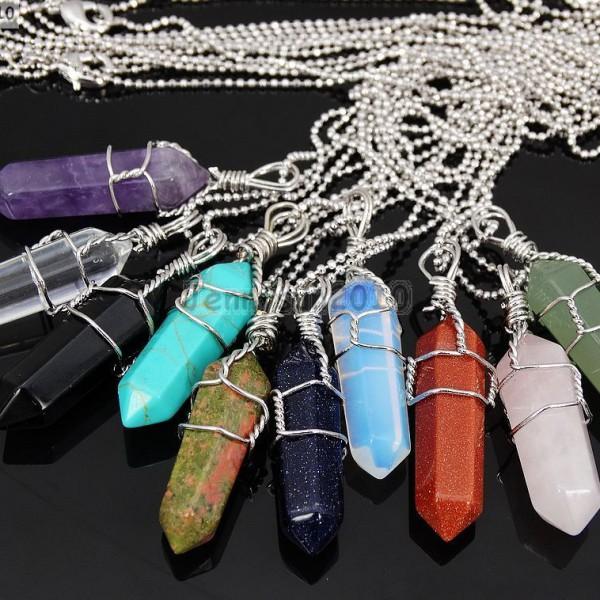 Gemstone-Hexagonal-Pointed-Reiki-Chakra-Wire-Wrap-Pendant-Silver-Chain-Necklace-281486321423