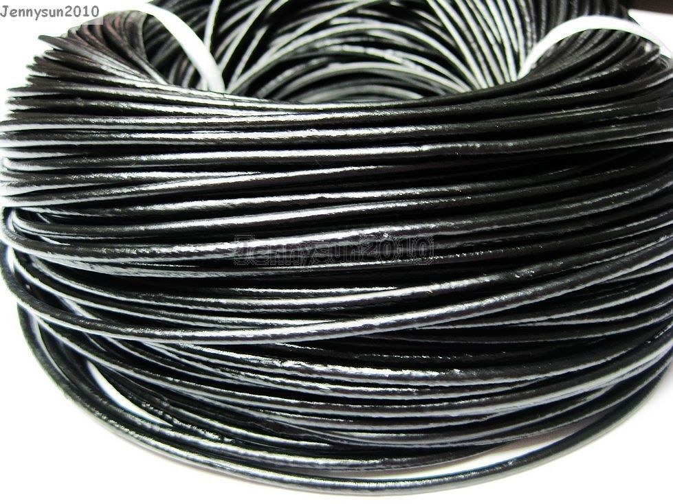 jennysun2010 2mm Black Top Quality Genuine Leather Cord Thread For Diy Bracelet Necklace Jewelry Making 10M Lead Free,Nickel Free