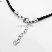 Genuine-Leather-Round-Thong-Necklace-Cord-Thread-Silver-Plated-Lobster-Clasp-371095350427-5