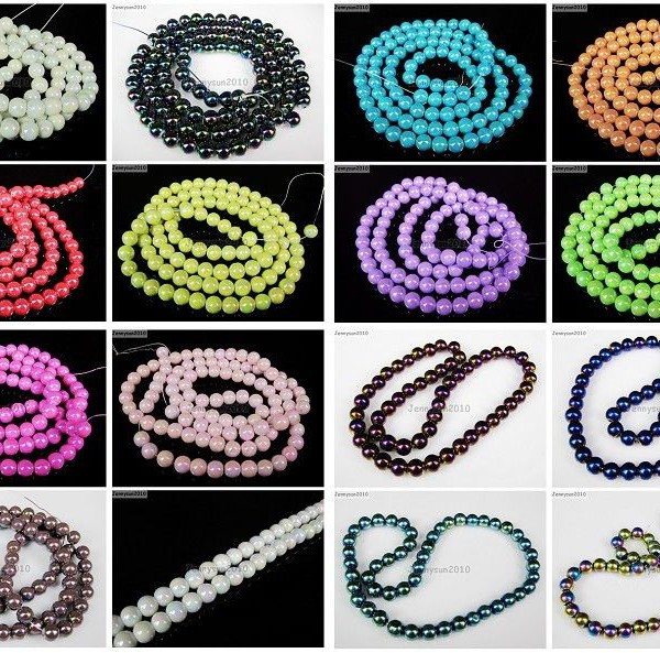 Glass-Pearl-Round-Beads-Color-With-AB-Finish-4mm-6mm-8mm-10mm-White-Black-Red-370892333462