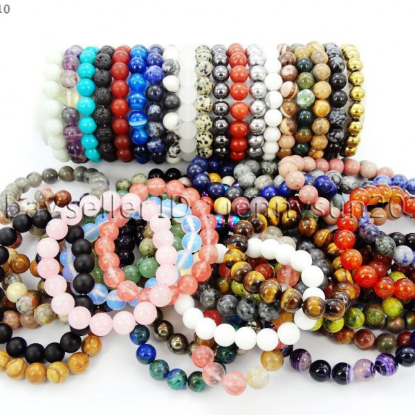 Handmade-10mm-Natural-Gemstone-Round-Beads-Stretchy-Bracelet-Healing-Reiki-261516825719
