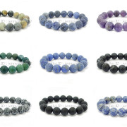 Handmade-12mm-Matte-Frosted-Natural-Gemstones-Round-Beads-Stretchy-Bracelet-371802863865-2