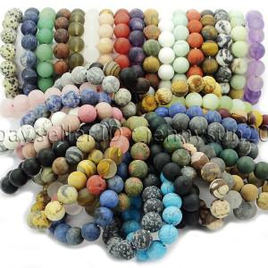 Handmade-12mm-Matte-Frosted-Natural-Gemstones-Round-Beads-Stretchy-Bracelet-371802863865