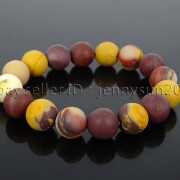 Handmade-12mm-Matte-Frosted-Natural-Gemstones-Round-Beads-Stretchy-Bracelet-371802863865-47a0