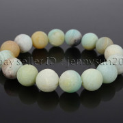 Handmade-12mm-Matte-Frosted-Natural-Gemstones-Round-Beads-Stretchy-Bracelet-371802863865-e792