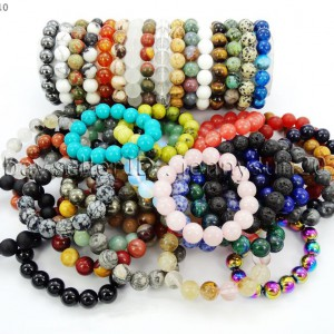 Handmade-12mm-Natural-Gemstone-Round-Beads-Stretchy-Bracelet-Healing-Reiki-371094780168