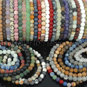 Handmade-6mm-Matte-Frosted-Natural-Gemstone-Round-Bead-Stretchy-Bracelet-Healing-371723628327