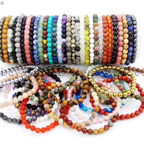Handmade-6mm-Mixed-Natural-Gemstone-Round-Beads-Stretchy-Bracelet-Healing-Reiki-371094027840