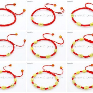 Handmade-Lucky-Red-Rope-24K-Gold-Plated-Beads-Agate-Gemstone-Adjustable-Bracelet-281760177649