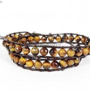 Handmade-Natural-Grade-AAA-Tiger039s-Eye-Gemstone-Beads-Wrap-Leather-Bracelet-281324380807-213b