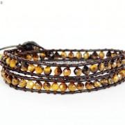 Handmade-Natural-Grade-AAA-Tiger039s-Eye-Gemstone-Beads-Wrap-Leather-Bracelet-281324380807-4a8c