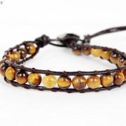 Handmade-Natural-Grade-AAA-Tiger039s-Eye-Gemstone-Beads-Wrap-Leather-Bracelet-281324380807-82e9