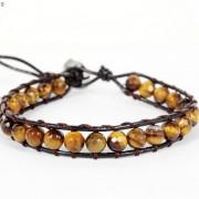 Handmade-Natural-Grade-AAA-Tiger039s-Eye-Gemstone-Beads-Wrap-Leather-Bracelet-281324380807-c321