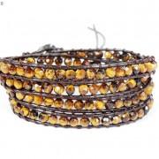 Handmade-Natural-Grade-AAA-Tiger039s-Eye-Gemstone-Beads-Wrap-Leather-Bracelet-281324380807-dc7a