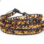 Handmade-Natural-Grade-AAA-Tiger039s-Eye-Gemstone-Beads-Wrap-Leather-Bracelet-281324380807-e5f5